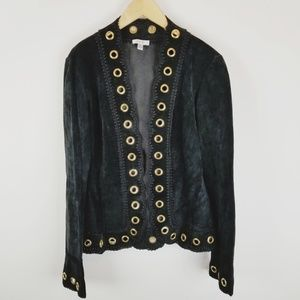 Cache suede leather gold eyelet jacket small